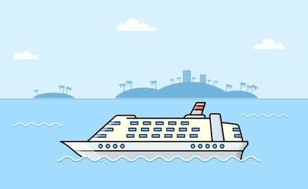 Passenger ships. Sea transportation liner. Ocean luxury yacht.. International water tourism and recreation concept. Vector illustration.