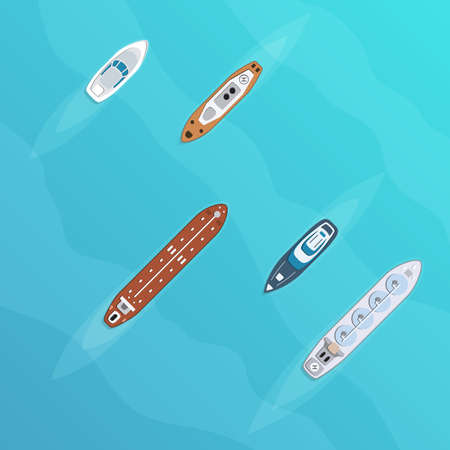 Set of commercial cargo and passengers ships. Sea transportation vehicle. Transport boat. International water trade concept. Vector illustration.