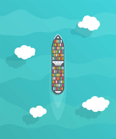 Commercial cargo ships. Sea transportation vehicle. Transport boat, container ships. International water trade concept. Vector illustration. Çizim