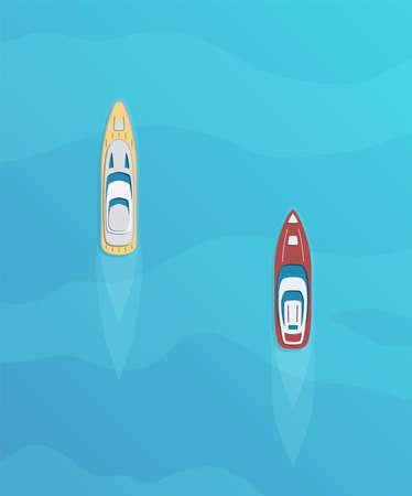 Set of passenger ships. Sea transportation liners. Yachts set. International water tourism and recreation concept. Vector illustration.