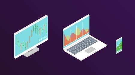 Grafico azionario Forex. Computer isometrico, laptop e smartphone con grafico dei dati di borsa. Concetto di visualizzazione dei dati di trading. Illustrazione vettoriale. Vettoriali