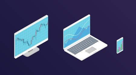 Graphique boursier Forex. Ordinateur d'isométrie, ordinateur portable et smartphone avec graphique de données boursières. Concept de visualisation de données commerciales. Illustration vectorielle.