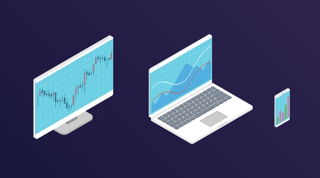 Grafico azionario Forex. Computer isometrico, laptop e smartphone con grafico dei dati di borsa. Concetto di visualizzazione dei dati di trading. Illustrazione vettoriale.