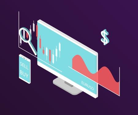 Grafico azionario Forex. Computer isometrico e smartphone con grafico dei dati di borsa. Concetto di visualizzazione dei dati di trading. Illustrazione vettoriale.