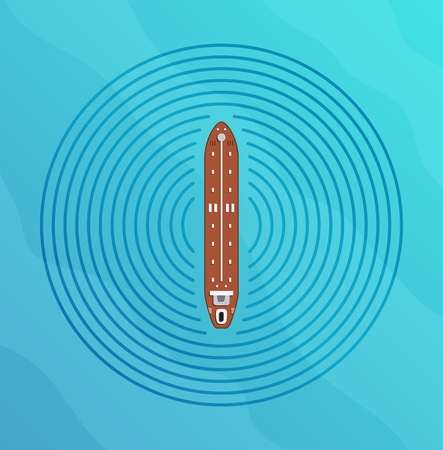 Autonomous ship with radar top view. Self driving boat concept. Self driving water vehicle with radar sensing system. Driverless boat. Vector illustration.