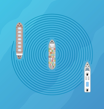 Autonomous ship with radar top view. Self driving boat concept. Self driving water vehicle with radar sensing system. Driverless boat. Vector illustration. Vektorové ilustrace