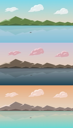 Landscape with lake and mountains. Skies, clouds and water pond. Rural area. Vector illustration.