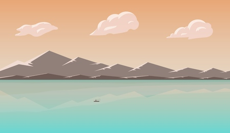Landscape with lake and mountains. Skies, clouds and water pond. Rural area. Vector illustration. Banco de Imagens - 106914778