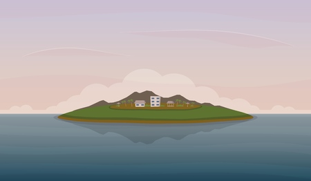 Landscape with island in the ocean. Mountains, skies, clouds hotel buildings. Sea recreation and tourism concept. Vector illustration. Banco de Imagens - 106914779