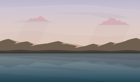 Landscape with lake and mountains. Skies, clouds and water pond. Rural area. Vector illustration. Banco de Imagens - 106914780