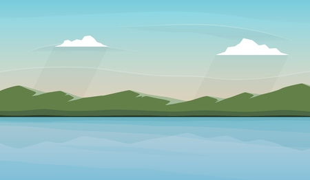 Landscape with lake and mountains. Skies, clouds and water pond. Rural area. Vector illustration. Banco de Imagens - 106914781