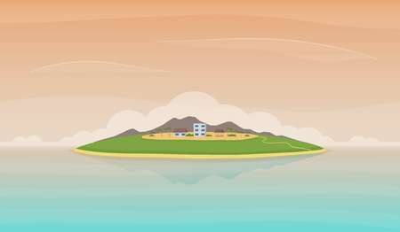 Landscape with island in the ocean. Mountains, skies, clouds hotel buildings. Sea recreation and tourism concept. Vector illustration.