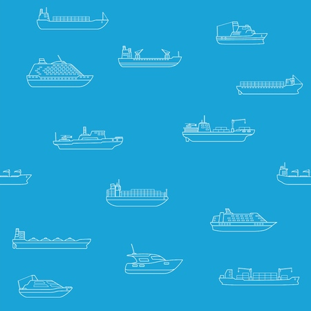 Seamless background of commercial cargo and passengers ships. Çizim