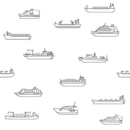 Fond transparent des navires commerciaux de marchandises et de passagers. Véhicule de transport maritime. Bateau de transport. Concept de commerce international de l'eau. Illustration vectorielle.