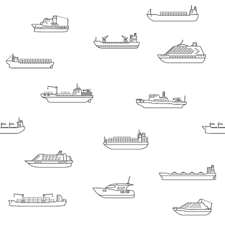 Seamless background of commercial cargo and passengers ships. Sea transportation vehicle. Transport boat. International water trade concept. Vector illustration. Çizim