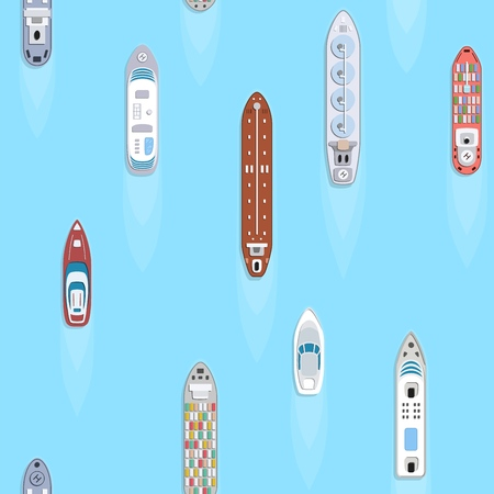 Seamless background of commercial cargo and passengers ships. Sea transportation vehicle. Transport boat. International water trade concept. Vector illustration. Ilustração