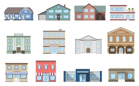 Buildings set. Residential cottages, store, mall, ship, museum, hospital, library, bank building isolated on white background. Urban public, retail business and living buildings. Cityscape. Vector illustration. Banco de Imagens - 108429764
