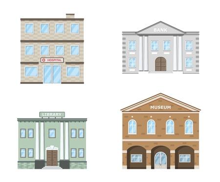 Public buildings set. Museum, hospital, library, bank building isolated on white background. Urban infrastructure. Vector illustration. Ilustração
