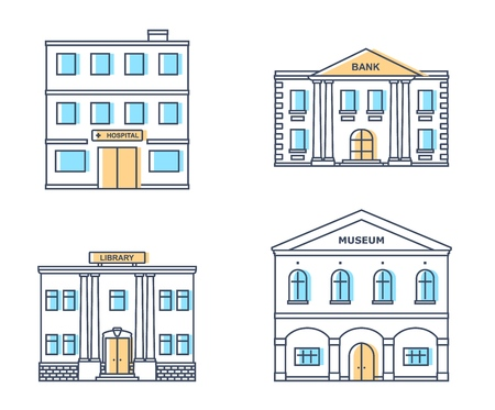 Public buildings set. Museum, hospital, library, bank building isolated on white background. Urban infrastructure. Vector illustration. Banco de Imagens - 108429769