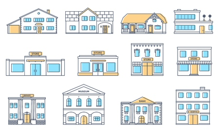 Buildings set. Residential cottages, store, mall, ship, museum, hospital, library, bank building isolated on white background. Urban public, retail business and living buildings. Cityscape. Vector illustration.