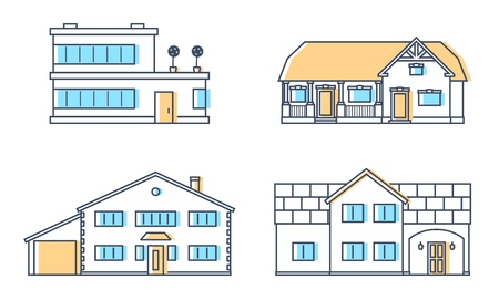 Set of four residention houses. Living cottage set. Apartament building. Home facade with doors and windows. Real estate buildings. Vector illustration. Banco de Imagens - 108429772