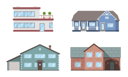 Set of four residention houses. Living cottage set. Apartament building. Home facade with doors and windows. Real estate buildings. Vector illustration. Ilustração