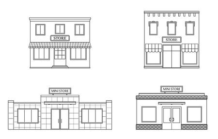 Set of store, shop, mini mall. Store fronts, flat style. Urban retail business buildings. Vector illustration. Ilustração
