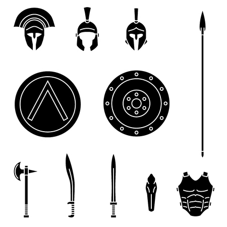 Set of ancient greek spartan weapon and protective equipment. Spear, sword, xyphos, shield, axe, helmet, leggins. Warrior outfit Vector illustration Stock Illustratie