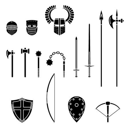 Set di armi e armature medievali. Equipaggiamento da guerriero medievale. Spada, martello, ascia, maschio, lancia, picca, mazza, arco, scudo per elmo da balestra. Illustrazione vettoriale.