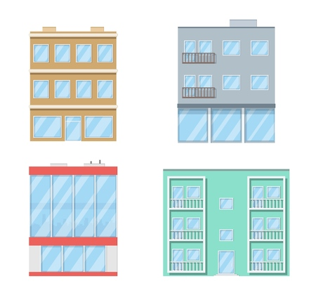 Buildings set. Residential houses, apartment building. Isolated on white background. Cityscape. Vector illustration. Banco de Imagens - 108653278