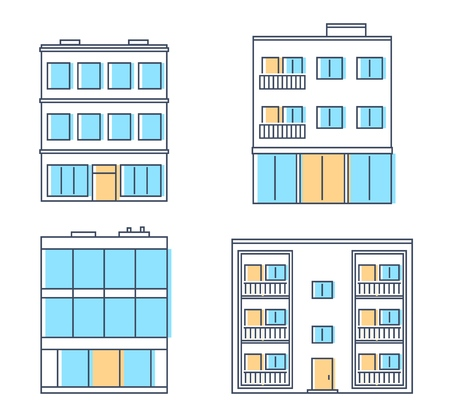 Buildings set. Residential houses, apartment building. Isolated on white background. Cityscape. Vector illustration.