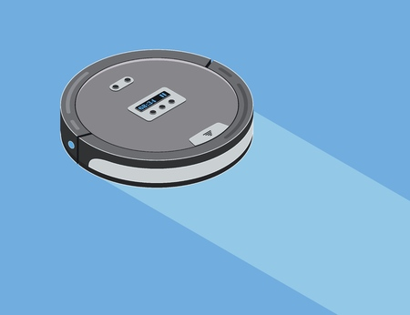 Robot vacuum cleaner. Smart robotic household appliance for cleaning. Isometric. Vector illustration.