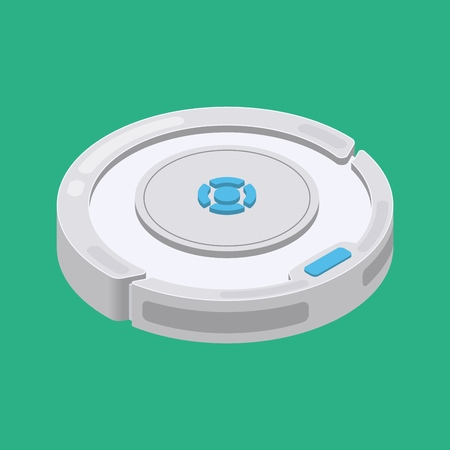 Robot vacuum cleaner. Smart robotic household appliance for cleaning. Isometric. Vector illustration. Banco de Imagens - 109268104