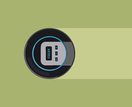 Robot vacuum cleaner. Smart robotic household appliance for cleaning. Vector illustration.