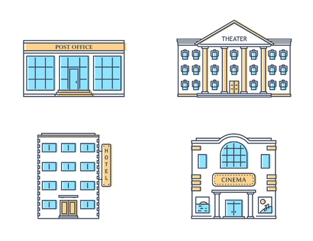 Buildings set. Theater, post office, hotel, cinema isolated on white background. Urban public buildings. Vector illustration.