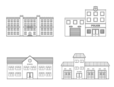 Buildings set. University, school, police, fire station building isolated on white background. Urban public buildings. Vector illustration.