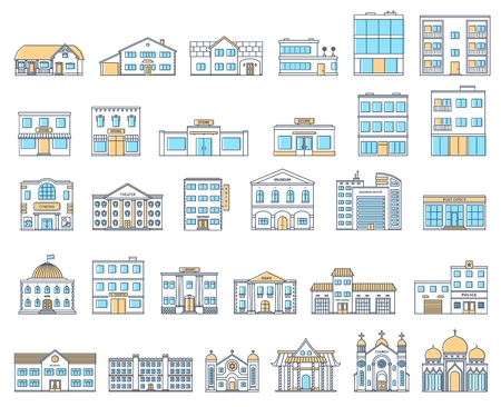 Buildings set. Buildings set. Cottages, store, museum, hospital, library, bank, cinema, religion, police, fire, school, university building isolated Urban public, retail and living buildings. Vector.