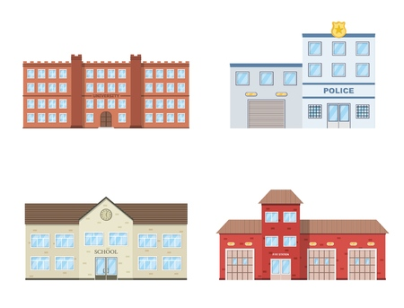 Buildings set. University, school, police, fire station building isolated on white background. Urban public buildings. Vector illustration. Banco de Imagens - 111871589