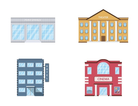 Buildings set. Theater, post office, hotel, cinema isolated on white background. Urban public buildings. Vector illustration. Banco de Imagens - 111199284