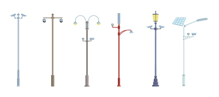 Posts with security cameras. Video surveillance CCTV camera. Territory monitoring devices. Flat style. Vector illustration. Banco de Imagens - 111448975