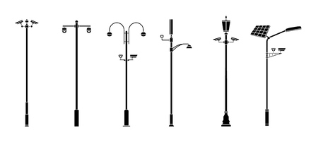 Posts with security cameras. Video surveillance CCTV camera. Territory monitoring devices. Flat style. Vector illustration.