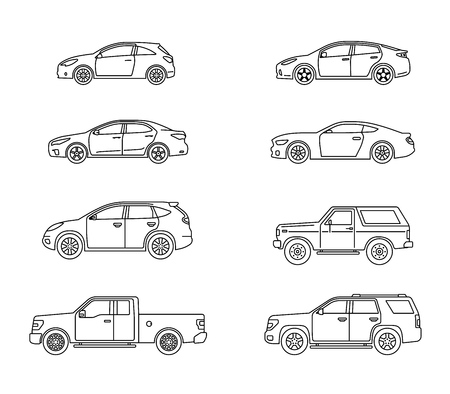 Set of personal cars. Set of automobiles in flat style. Sedan, sport coupe car, hatchback, offroad suv, pickup. Side view. Vector illustration.