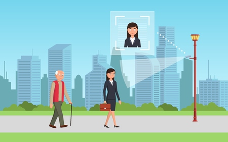Face recognition concept. People walking street scanning by facial recognition camera. Person identification hardware. Vector illustration. Banco de Imagens - 112401136