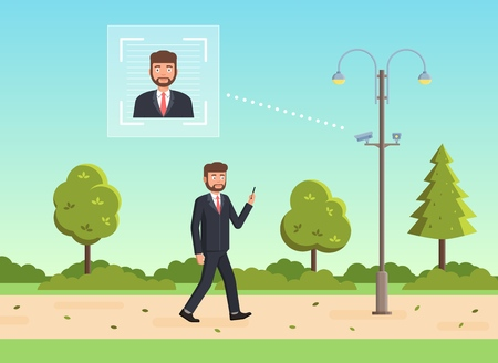 Face recognition concept. People walking street scanning by facial recognition camera. Person identification hardware. Vector illustration. Banco de Imagens - 112401140