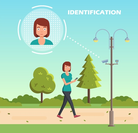 Face recognition concept. People walking street scanning by facial recognition camera. Person identification hardware. Vector illustration. Banco de Imagens - 112401142