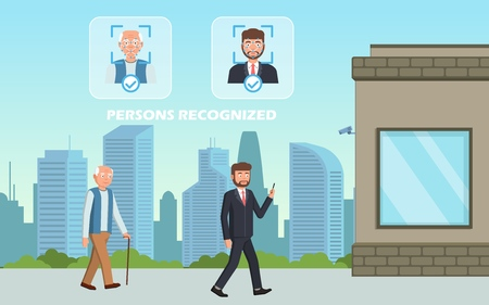 Face recognition concept. People walking street scanning by facial recognition camera. Person identification hardware. Vector illustration.