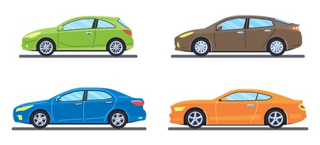 Set of personal cars. Set of automobiles in flat style. Sedan, sport coupe car, hatchback. Side view. Vector illustration.