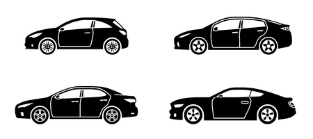 Set of personal cars. Set of automobiles in flat style. Sedan, sport coupe car, hatchback. Side view. Vector illustration. Banco de Imagens - 114680375