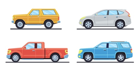 Set of personal cars. Set of automobiles in flat style. Offroad suv, pickup. Side view. Vector illustration. Banco de Imagens - 114680376