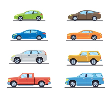 Set of personal cars. Set of automobiles in flat style. Sedan, sport coupe car, hatchback, offroad suv, pickup. Side view. Vector illustration. Banco de Imagens - 114680377